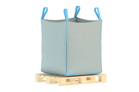 pallet with big bag isolated on the white background