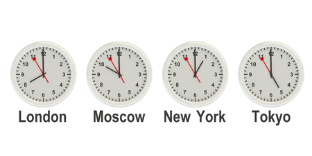 timezone: Timezone wall clocks isolated on white background Stock Photo