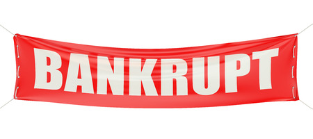 insolvent: bankrupt concept on the red banner