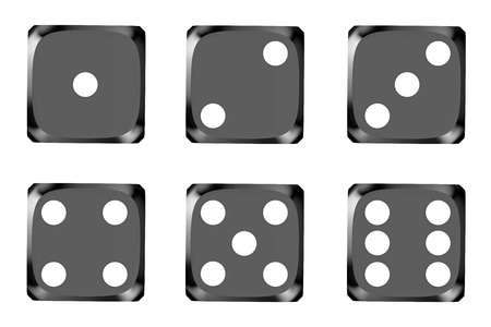 wager: black dice, top view isolated on white background Stock Photo