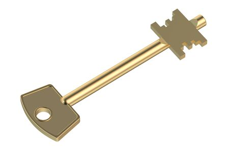 golden key: Golden key isolated on white background