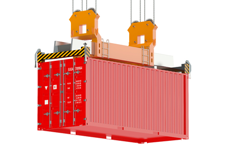 container crane and red cargo container isolated on white background Stock Photo