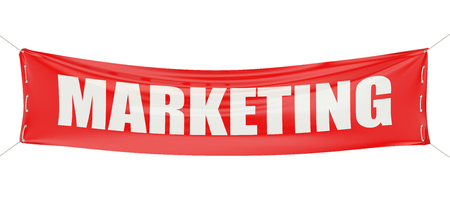 starting a business: marketing concept on the red banner