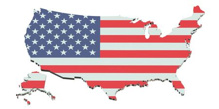 state boundary: United States of America map isolated on white background Stock Photo