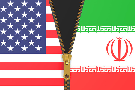 unzip: Flags of Iran and USA, political concept