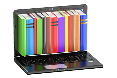 books library: Laptop computer with colored books isolated on white background