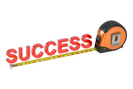 success concept: Measure success concept isolated on white background Stock Photo