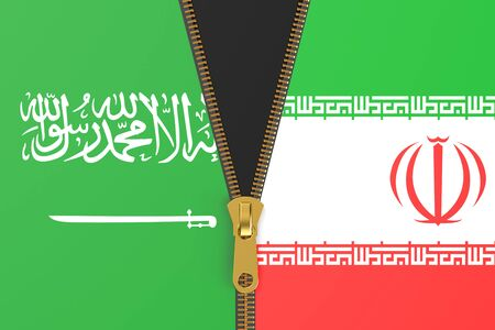 iran: Flags of Iran and Saudi Arabi, political concept Stock Photo