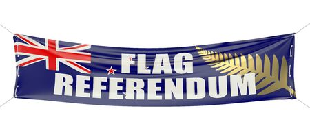 referendum: New Zealand flag referendum concept on the red banner