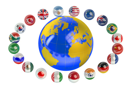 industrialized country: Summit G20 concept with globe isolated on white background Stock Photo