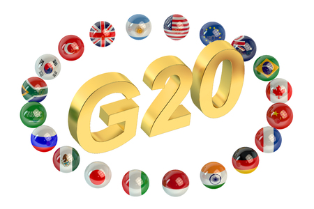 g20: Summit G20 concept isolated on white background Stock Photo