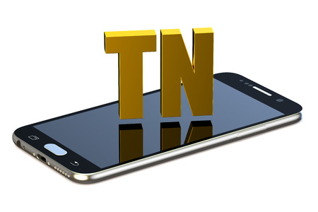 tn: TN concept with smartphone  isolated on white background