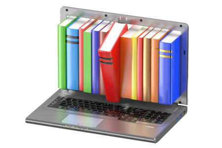 e reader: Laptop and stack of color books isolated on white background