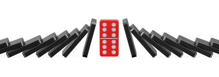 domino effect: domino, success concept isolated on white background