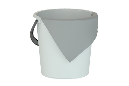 bucket with rag isolated on white background
