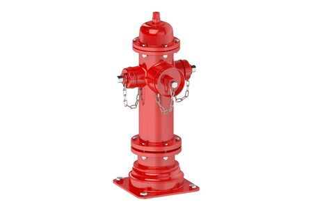 fire hydrant: Red fire hydrant isolated on white background