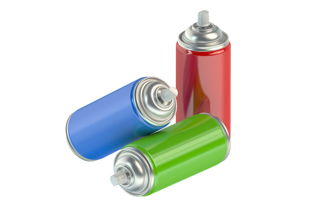 compressed: spray paint cans isolated on white background