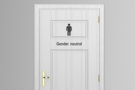 gender symbol: toilet door for gender neutral isolated on white background