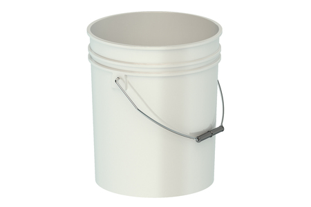 packaging equipment: white plastic bucket isolated on white background