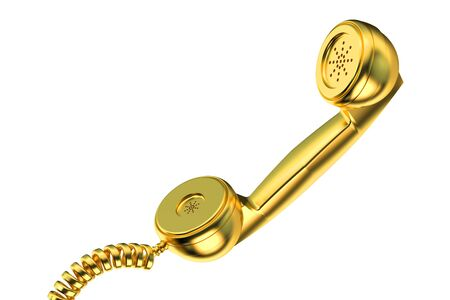 telephonic: Golden phone handset isolated on white background