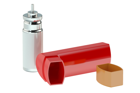 inhaler: Asthma inhaler isolated on white background Stock Photo