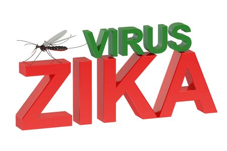quarantine: Zika virus concept  isolated on green background Stock Photo