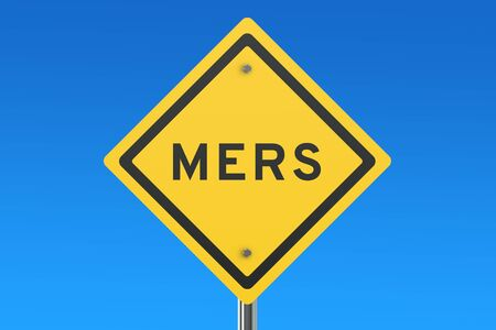 viral infection: Mers sign isolated on blue sky Stock Photo