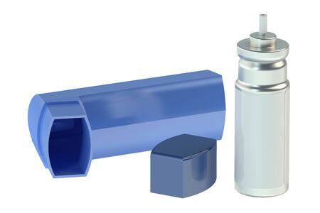 chronic bronchitis: parts of asthma inhaler isolated on white background Stock Photo