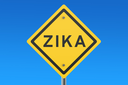 quarantine: Zika virus sign isolated on blue sky