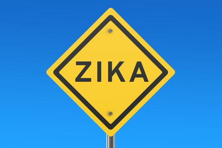 Zika wirusa podpisania odizolowane na niebieskim niebie Zdjęcie Seryjne