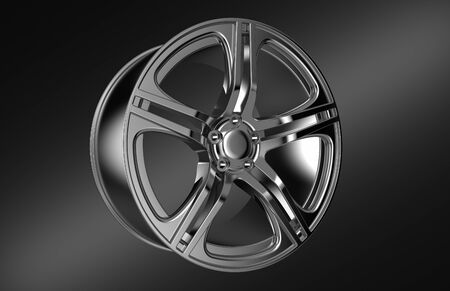 ring road: car wheel rim isolated on black background