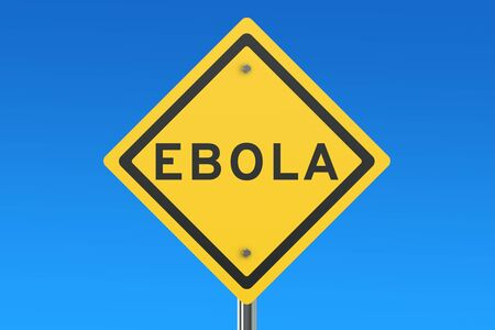 ebola: Ebola virus sign isolated on blue sky