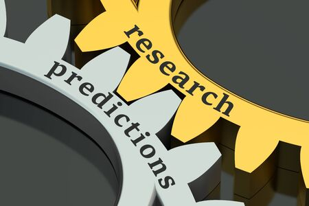 predictions: Research Predictions concept on the gearwheels