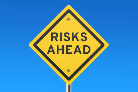 risks ahead: Risks Ahead road sign isolated on blue sky Stock Photo