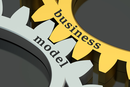 Business Model concept on the gearwheels