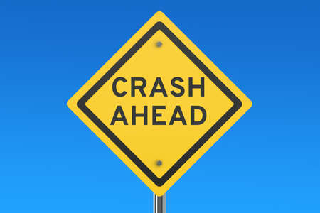 danger ahead: Crash Ahead road sign isolated on blue sky