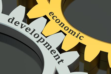 desarrollo económico: Concepto del desarrollo económico sobre las ruedas dentadas Foto de archivo