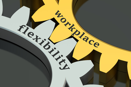 flexibility: Workplace flexibility concept on the gearwheels Stock Photo