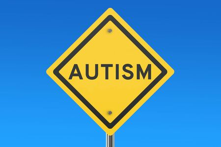 danger ahead: Autism road sign isolated on blue sky