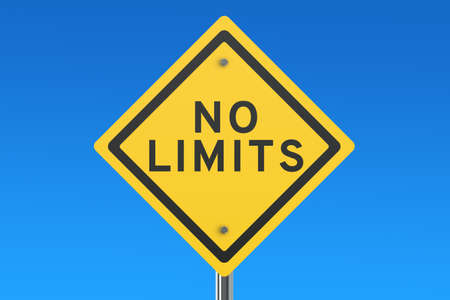 limits: No limits road sign isolated on blue sky