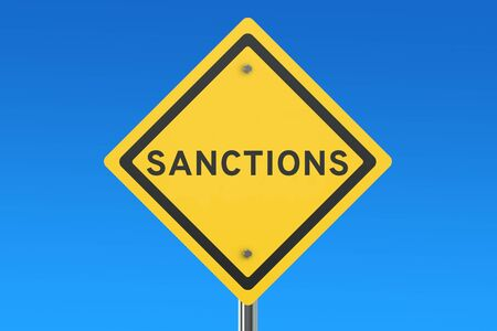 danger ahead: Sanctions road sign isolated on blue sky Stock Photo