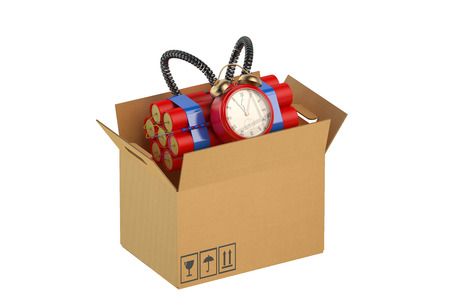 detonation: Timer Bomb in the cardboard box Stock Photo
