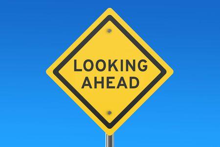 Mirando hacia el futuro señal de tráfico aislados en el cielo azul