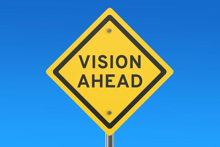 looking ahead: Vision Ahead road sign isolated on blue sky