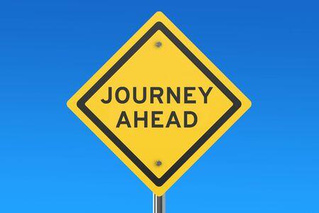 ahead: journey ahead road sign isolated on blue sky