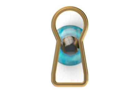 key hole: Keyhole with eye isolated on white background