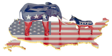donkey: Elections in USA concept with donkey and elephant