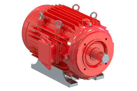 moteur électrique industriel isolé sur fond blanc