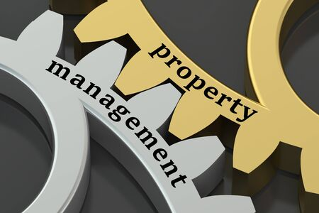 property management: Management and Property concept on the gearwheel