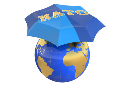 nato: NATO protect concept isolated on white background Stock Photo